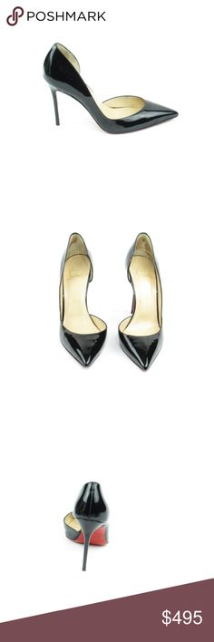 D'Orsay Black Patent Pump (Sku 55) We offer both new and pre-owned luxury designer shoes. All shoes have been cleaned and sanitized with revolutionary ozone and UVC technology, killing and preventing fungus, bacteria and odor. We own our entire inventory and all designer shoes have be authenticated, sanitized and restored. Christian Louboutin Shoes Heels