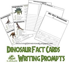 free Dinosaur Fact Cards and writing prompts - great for elementary kids and a dinosaur week