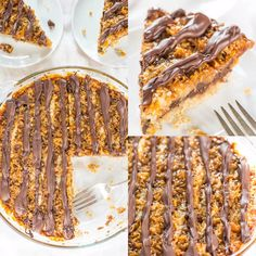 Samoas Cookie Pie - Move over Girl Scout Cookies! The flavor in this easy giant cookie is spot-on! Baking Recipes, Cookie Recipes, Dessert Recipes, Just Desserts, Delicious Desserts, Yummy Food, Move Over, Yummy Treats, Sweet Treats