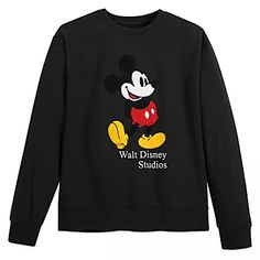 Mickey's classic pose is forever in fashion on this soft, pullover sweatshirt with chenille appliqué art direct to you from ''The City of Angels,'' Los Angeles, California. New Mickey Mouse, Disney Mickey, Mickey Mouse Sweatshirt, Walt Disney Studios, Stylish Tops, Casual Tops, Disney Outfits, Disneyland Outfits, Disney Fashion