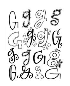 Handlettering possibilities for the letter G Hand Lettering Fonts, Doodle Lettering, Creative Lettering, Lettering Styles, Handwriting Fonts, Brush Lettering, Penmanship, Cursive, Fancy Letters