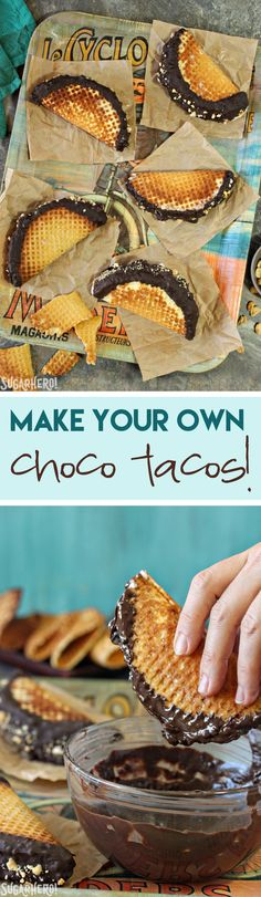 Homemade Choco Tacos! Recreate an amazing childhood favorite and fill it with your favorite kind of ice cream! | From SugarHero.com