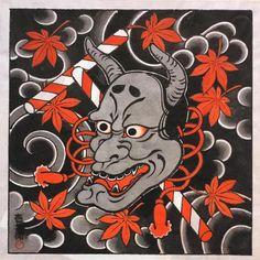 Japanese Art Prints, Japanese Tattoo Art, Japanese Design, Japanese Hannya Mask, Japanese Mask, Tattoo Mascara, Japanese Folklore, Asian Tattoos, Oriental Tattoo