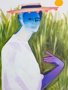 From Marcia Rafelman Fine Arts, Erin Armstrong, Umbrella Acrylic on Canvas, 48 × 36 in Erin Armstrong, Elizabeth Peyton, Unusual Art, Colorful Paintings, Artsy, Fine Art, Portrait, Canvas, Drawings