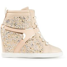 Ballin Embellished Wedge Sneakers (910 CAD) ❤ liked on Polyvore featuring shoes, sneakers, wedged sneakers, high top wedge sneakers, hi tops, leather sneakers and high top shoes