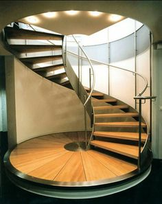 Nautilus Treppen GmbH & Co. KG - Spiral staircase in Plauen, Germany (Bank) 1994 / Nautilus Railing Design, Stair Railing, Staircase Design, Stair Design, Staircase Handrail, Staircase Ideas, Stairs Architecture, Architecture Design, Stair Decor