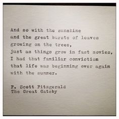 The Great Gatsby Quote Typed on Typewriter and Framed