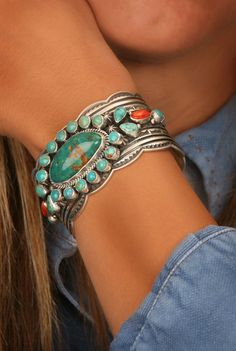 Oval Turquoise and Spiny Oyster Shell Cuff Bracelet by Cadman from Smith and Western