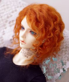 "1//4 or 1//3 bjd 7-8/"" doll wig carrot red braid curly real mohair dollfie minifee"