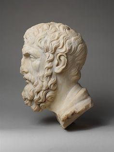 Marble head of Epikouros Stone Sculpture, Sculpture Art, School Of Philosophy, Marble Bust, Art Of Man, Roman Art, People Of Interest, Greek Art, Ancient Art