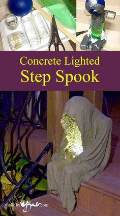 Concrete Lighted Step-Spook madebybarb draped concrete Make this simple concrete lighted step-spook with household waste and some concrete fabric draping. He is small scale and portable.Concrete Lighted Step Spook—madebybarb costumes for teachers h Spooky Halloween, Holidays Halloween, Halloween Crafts, Halloween Garden Ideas, Diy Halloween Props, Diy Halloween Decorations For Outside, Halloween Lighting, Halloween Parties, Halloween Halloween