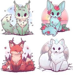 New drawing cute fox Ideas - Happy Tiere Cute Kawaii Animals, Cute Animal Drawings Kawaii, Kawaii Art, Cute Baby Animals, Kawaii Chibi, Cute Animals To Draw, Cute Fox Drawing, Kawaii Anime, Drawing Drawing