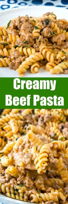 Creamy Beef Pasta - an easy recipe that gets dinner on the table the whole family will love any night of the week! Creamy, hearty, and perfect for those picky eaters.