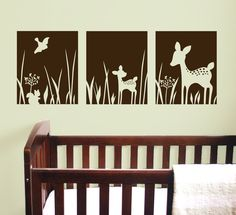 Deer Willow Wall Decals 3 Panels  - 36x13  -  Nursery removable vinyl stickers. $36.00, via Etsy.