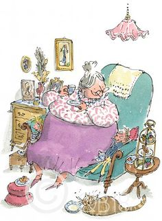 Sir Quentin Blake - G is for Grandma Quentin Blake Illustrations, Illustrations Posters, Children's Book Illustration, Watercolor Illustration, Pen And Watercolor, Roald Dahl, Childrens Books, Sketches, Cartoon