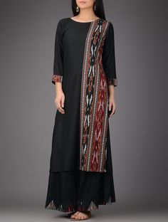 Buy Black Red Ivory Ikat Cotton Silk Kurta Women Kurtas Sutra dresses overlays and more Online at Jaypore.com Batik Fashion, Abaya Fashion, Ethnic Fashion, Indian Fashion, Fashion Dresses, Kurta Designs Women, Salwar Designs, Dress Neck Designs, Blouse Designs