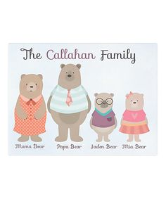 Look at this Bear Family Personalized Wrapped Canvas on #zulily today!