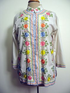 Vintage 1970s Hippie Flower Embroidered Cotton Blend Tunic Blouse SZ L