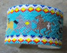 Racing Painted Ponies Bracelet Hand Made Seed Beaded by wolflady, $85.00