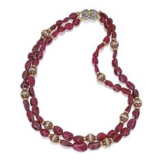18 KARAT GOLD, SPINEL BEAD, RUBY AND DIAMOND NECKLACE, TAMSEN Z BY ANN ZIFF The two-strand necklace composed of 63 tumbled spinel beads weig...