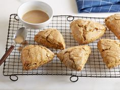 Pumpkin Scones with Maple-Cinnamon Glaze : Once these tender cardamom-laced scones have cooled, drizzle them with a simple three-ingredient glaze, and finish with coarse turbinado sugar for subtle crunch and an extra-special presentation.