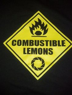 Inspired by Portal - *Combustible Lemons Shirt * Youth and Adult Sizes | JustAnAwesomeMom - Clothing on ArtFire