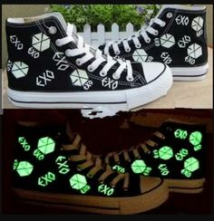 New Animer EXO Kpop SBS fluorescent Shoes canvas board shoes custom made accessories merchandise Sehun Luhan Tao Do Baek Hyun Grow xoxo (Style B, Girl size US online. Enjoy the absolute best in Ash Sneakers shoes from top Shoes store. Kpop Fashion, Korean Fashion, Fashion Room, Kpop Diy, Sehun And Luhan, Kpop Merch, Kpop Outfits, Looks Cool, Mode Style