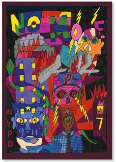 Parker Lanier, the US outsider artist, is one of 99 artists presented on the site www.outsider-art-brut.ch or www.aussenseiterkunst.ch.  This small sized dark but colorful acrylic painting is one of six of his works on display.