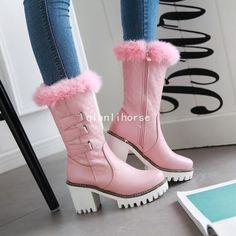 Womens Mid Calf Boots Fur Top Block High Heel Side Zip Winter Warm Snow Boots Sz