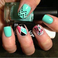Teal abstract nail art