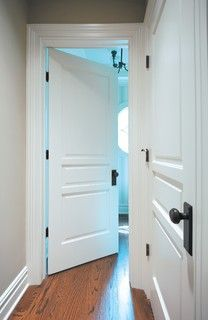 Square doors with ORB. White doors, oil rubbed bronze hardware Premium Doors - traditional - interior doors - huntington - Interior Door and Closet Company Panel Doors, Windows And Doors, 3 Panel Interior Doors, Front Doors, White Interior Doors, Interior Door Knobs, Barn Doors, Farmhouse Interior Doors, Interior Door Styles