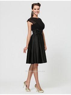 A-line Jewel Knee-length Chiffon And Satin #Bridesmaid #Dress With Bow(s)SKU: SAL00156-LT Weddings From New Zealand