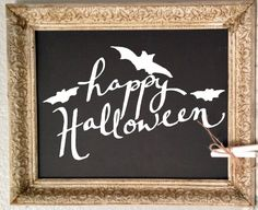 Happy Halloween with bats. Hand-Drawn Vinyl Decal. by WelcomingWalls on Etsy