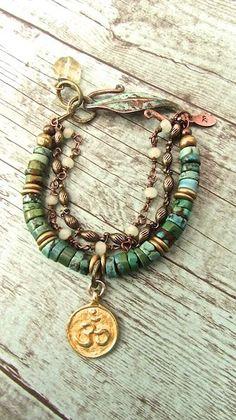 Handmade Bohemian Jewelry, Turquoise Boho Bracelet, Yoga Jewelry, OM Meditation…