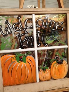 Old Window Painted Welcome Fall shabbynicarts@facebook.com
