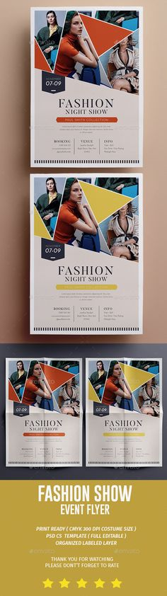 Buy Fashion Show Flyer by tokosatsu on GraphicRiver. Fashion Show Flyer Hello This PSD file set on 210 mm x 297 mm + bleed ready to print. Design Poster, Flyer Design, Layout Design, Print Design, Poster Designs, Design Brochure, Brochure Cover, Editorial Layout, Editorial Design