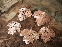 Perforated metal leaves, real viburnum leaves with holes electroformed with copper, metal leaf pendant, electroforming, botanical jewelry