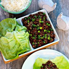Korean Beef Lettuce Wraps Recipe Main Dishes, Lunch with lettuce, lean ground beef, brown sugar, soy sauce, sesame oil, garlic, ground ginger, red pepper flakes, green onions, rice vinegar, sesame seeds