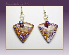 GrapeTriangle Dangle Crystal Earrings polymer clay by BeadazzleMe, $12.00