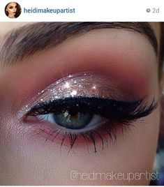 beautiful coral glitter & winged liner look by @heidimakeupartist