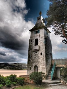 Portmeirion Village, North Wales - tower on the estuary walk