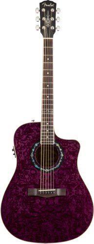 Fender T-Bucket 300 CE Dreadnought Cutaway Acoustic-Electric Guitar - Transparent Violet