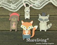 4pcs Handmade Wooden Bear  rabbit  Fox wolf  Animal Charms / Pendants HW008A