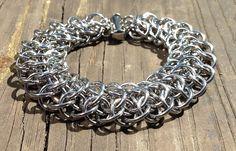 Chain Maille, Chainmaille, Chainmail, Chain Mail, Stainless Steel, Handmade, Bracelet, Men, 9 inch, 8 Inch, Industrial, Steampunk, Gothic by Faroutmaille on Etsy