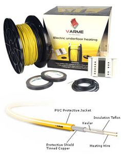 Varme Electric Underfloor Heating COMPLETE CABLE KIT 3.6sqm 550 Watts for use on Timber Floors or Concrete Floors -Manufacturer Reference: TPC0550