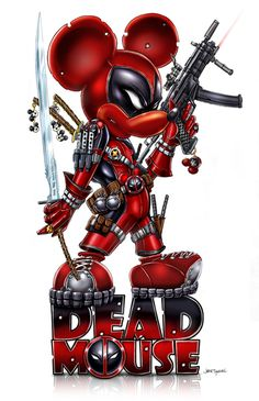 Deadmouse (not to be confused with - Deadpool / Mickey Mouse mash-up Disney Marvel, Marvel Art, Marvel Dc Comics, Marvel Heroes, Deadpool Pikachu, Deadpool Art, Deadpool Wallpaper, Dead Pool, Dark Disney