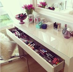IKEA Malm dressing table should be perfect. And I I like the chair too!