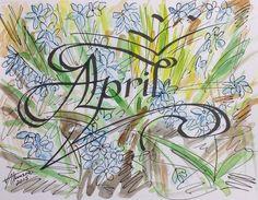April-Calligraphy Watercolor, V. Atkinson 2015.