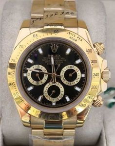 Relógio Rolex – Cosmograph Daytona – Dourado Fundo Preto – Réplica Premium AAA+