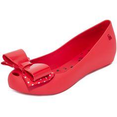 Melissa Walt Disney + Melissa Ultragirl Flats ($90) ❤ liked on Polyvore featuring shoes, flats, hidden wedge shoes, short heel shoes, bow flats, flat shoes and melissa shoes